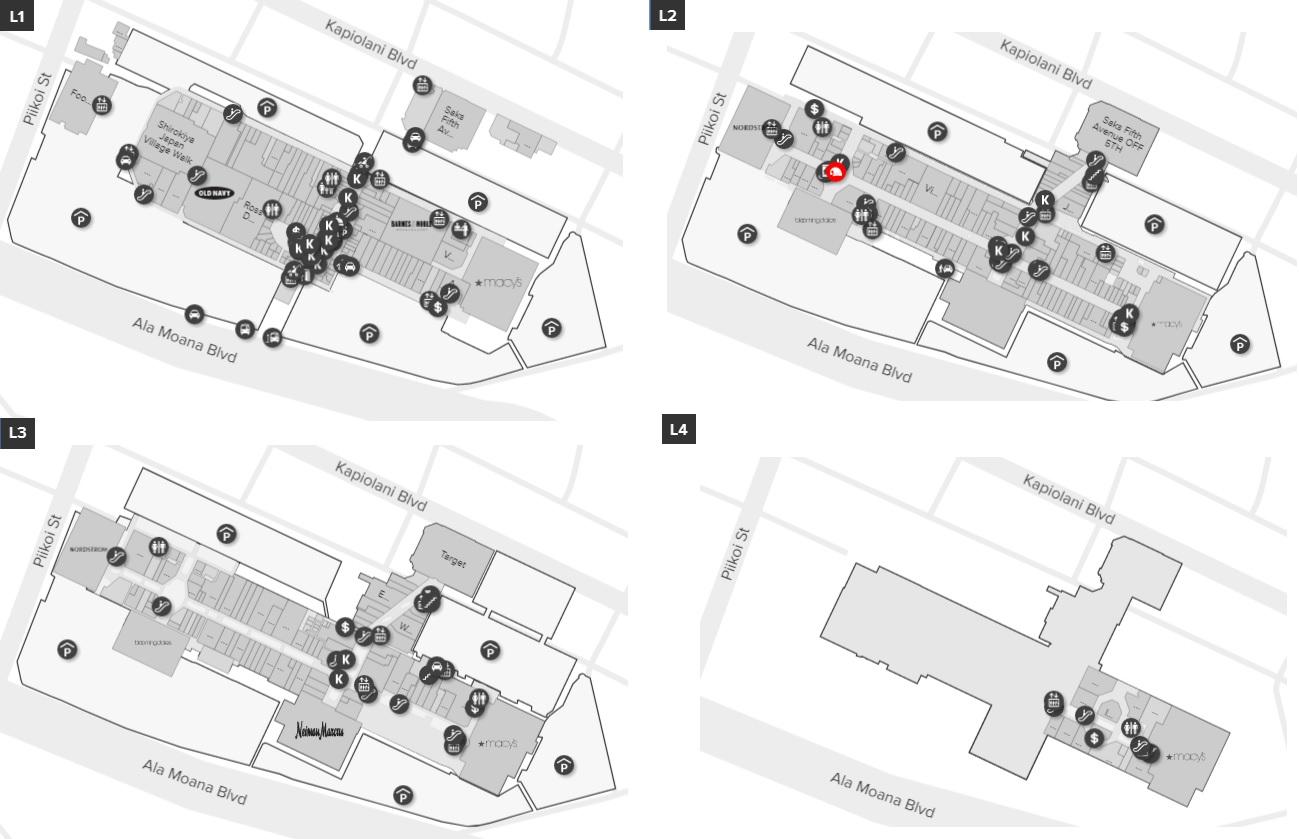 Ala Moana Mall Map Ala Moana Center (348 stores)   shopping in Honolulu, Hawaii HI HI
