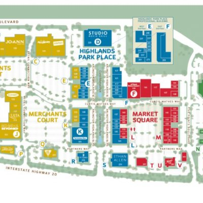 Arlington Highlands plan - map of store locations