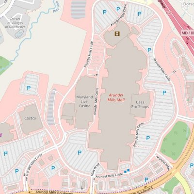 Arundel Mills plan - map of store locations