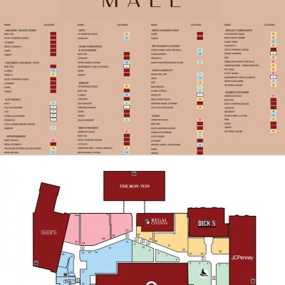 Aviation Mall plan - map of store locations