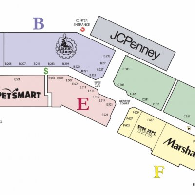 Bay City Mall Town Center plan - map of store locations