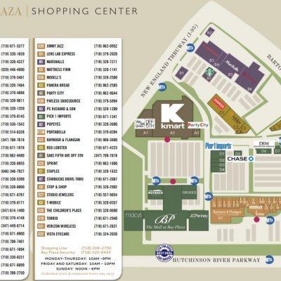 Bay Plaza Shopping Center plan - map of store locations