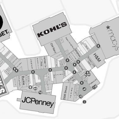 Bellis Fair Mall plan - map of store locations