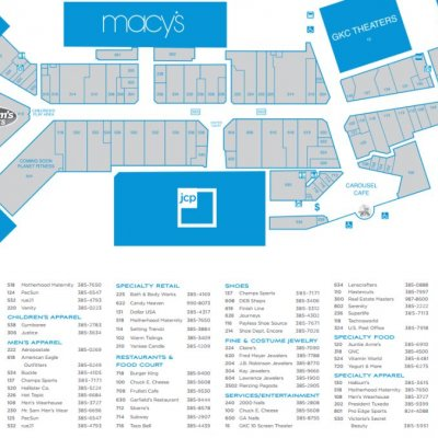Birchwood Mall plan - map of store locations