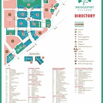 Bridgeport Village plan - map of store locations