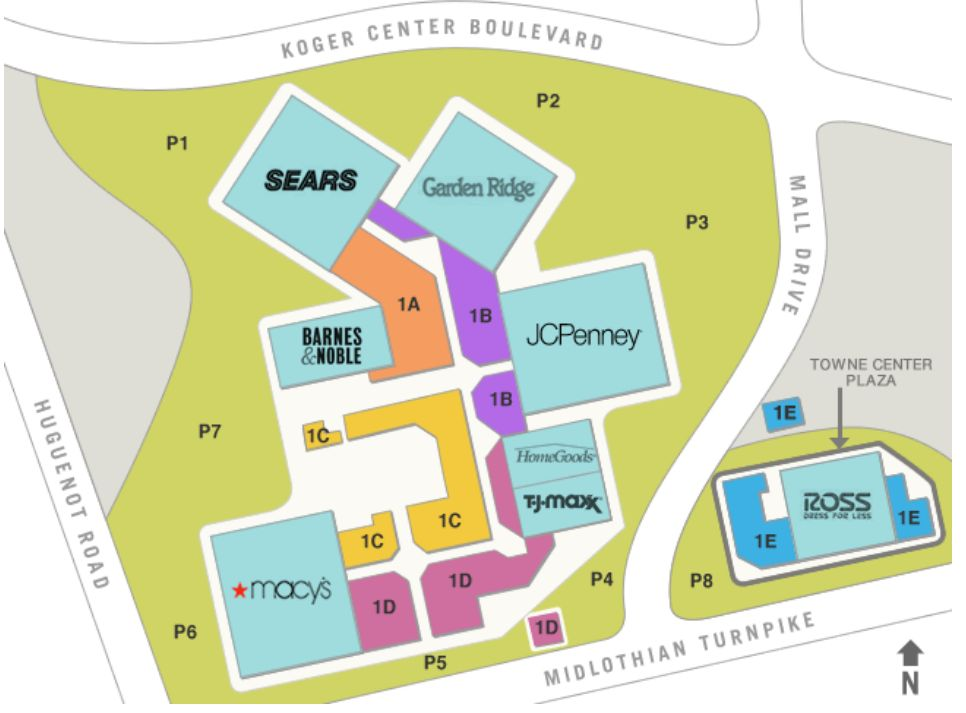 Chesterfield Towne Center Map Chesterfield Towne Center (114 stores)   shopping in Richmond  Chesterfield Towne Center Map