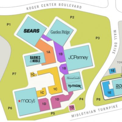 Chesterfield Towne Center plan - map of store locations