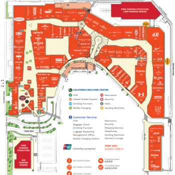 Citadel Outlets plan - map of store locations