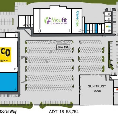 Coral Way Plaza plan - map of store locations
