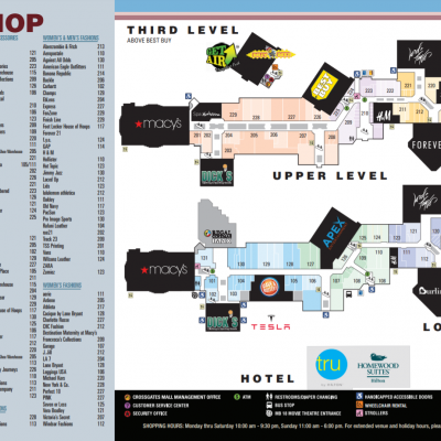 Crossgates Mall plan - map of store locations