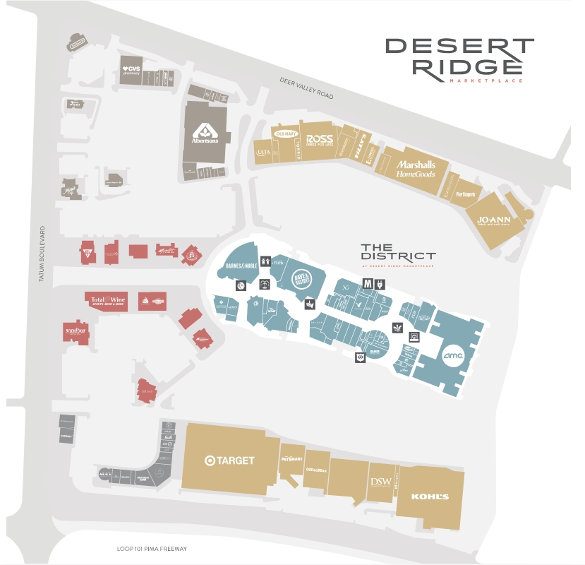 Desert Ridge Map Desert Ridge Marketplace (95 stores)   shopping in Phoenix