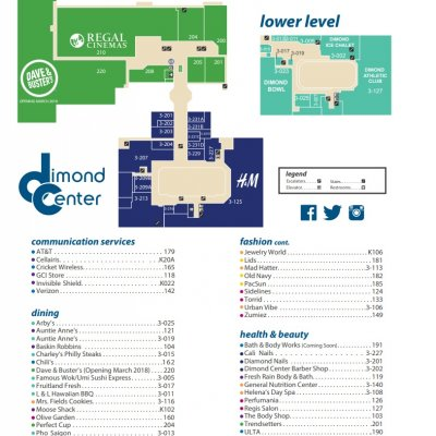 Dimond Center plan - map of store locations