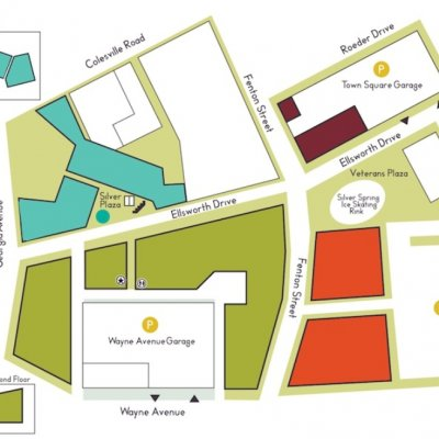 Downtown Silver Spring plan - map of store locations