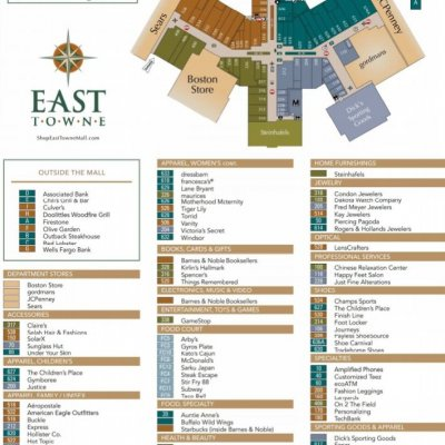 East Towne Mall plan - map of store locations