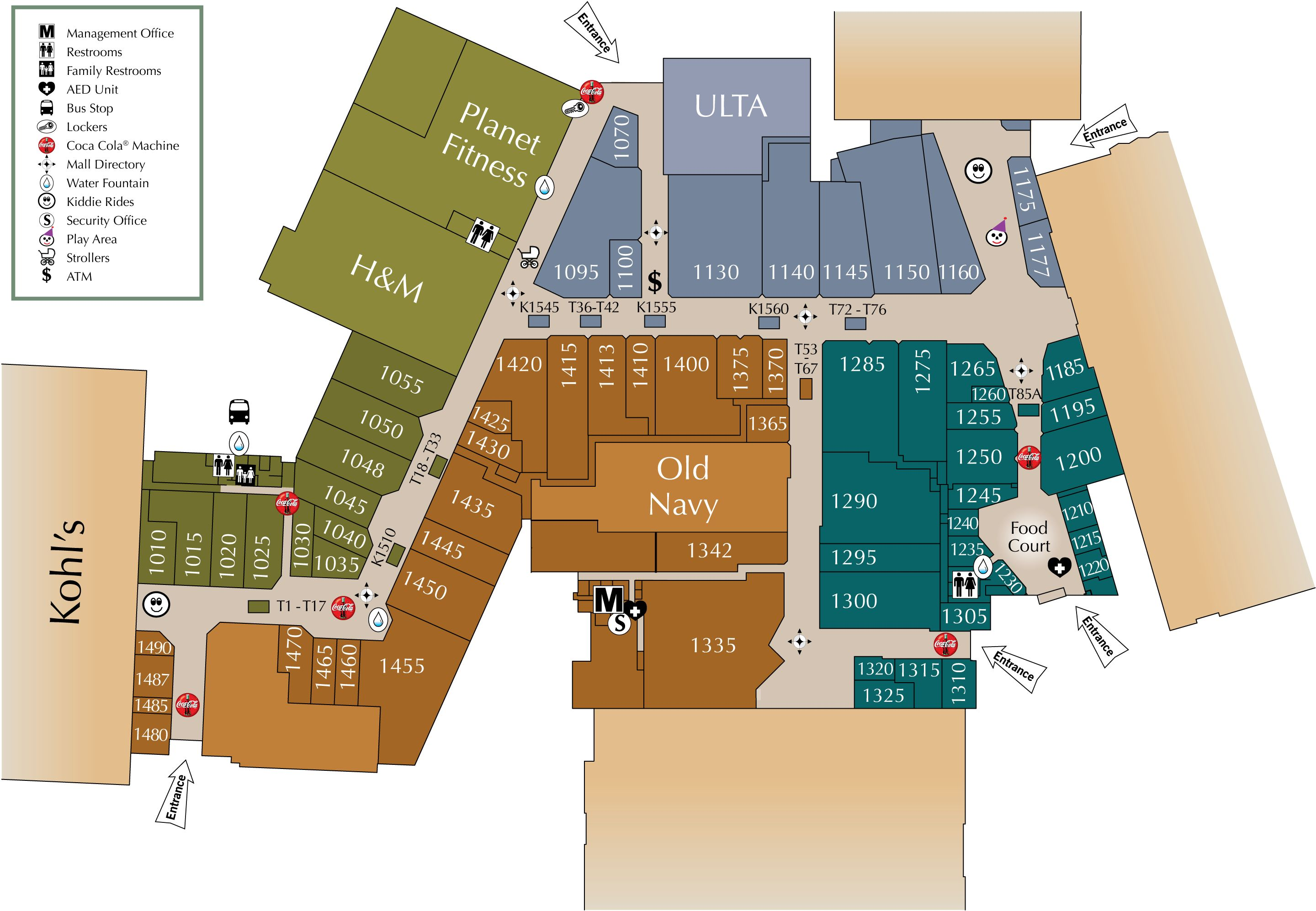 Eastland Mall Map Eastland Mall (69 stores)   shopping in Bloomington, Illinois IL  Eastland Mall Map