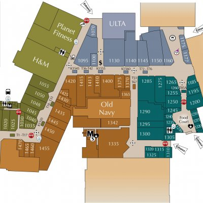 Eastland Mall plan - map of store locations