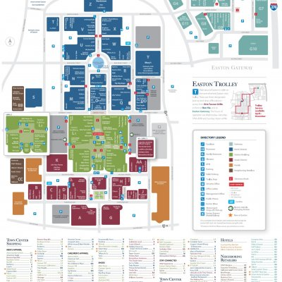Easton Mall Map Easton Town Center (239 stores)   shopping in Columbus, Ohio OH