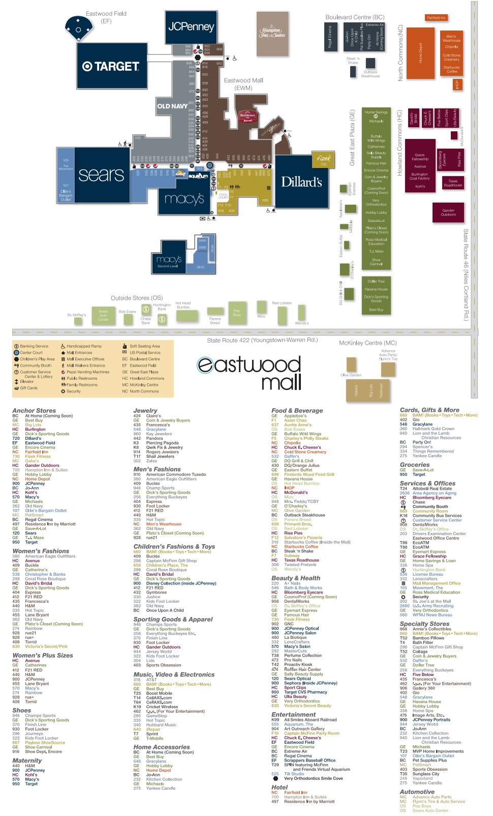Eastwood Mall Ohio (201 stores) - shopping in Niles, Ohio OH