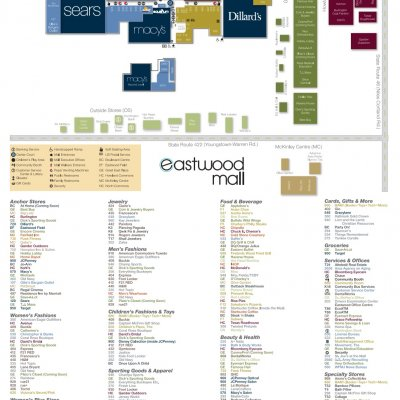 Eastwood Mall Ohio plan - map of store locations
