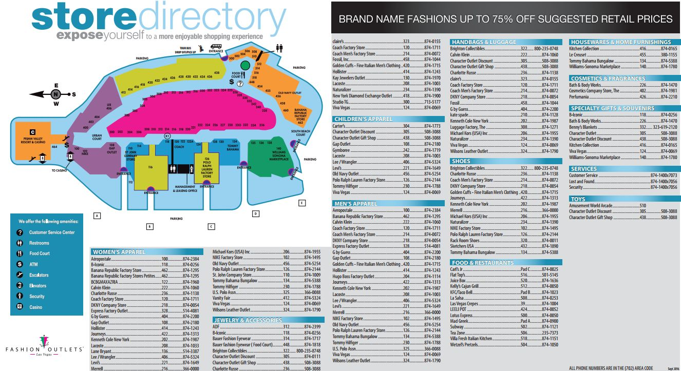 Fashion Outlets Of Las Vegas Plan Map Of Store Locations