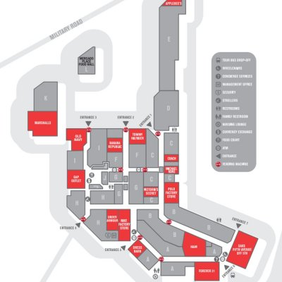 Fashion Outlets of Niagara Falls USA plan - map of store locations
