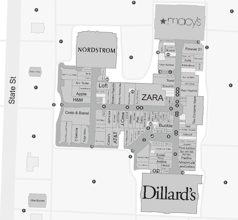 Fashion Place Mall Map Fashion Place (134 stores)   shopping in Murray, Utah UT 84107