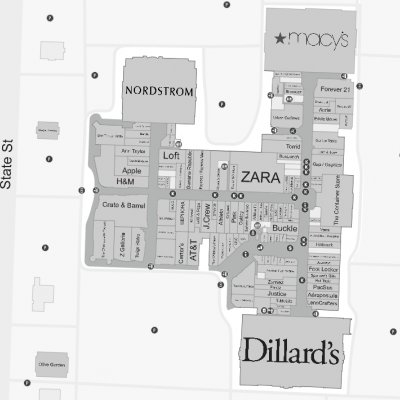 Fashion Place plan - map of store locations
