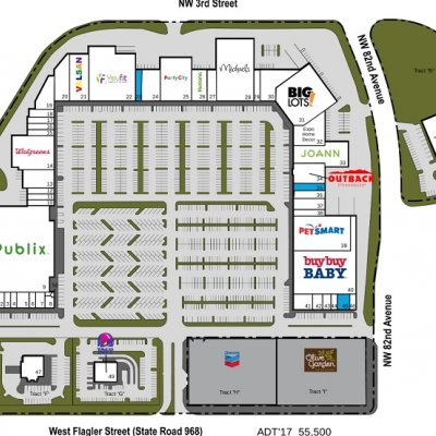 Flagler Park Plaza plan - map of store locations