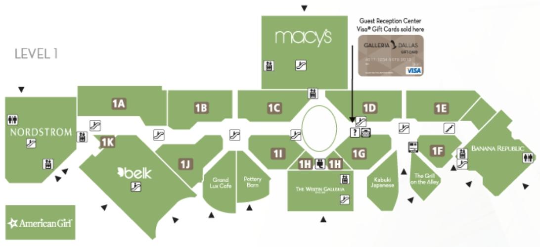 Dallas Galleria Map Galleria Dallas (157 stores)   shopping in Dallas, Texas TX 75240