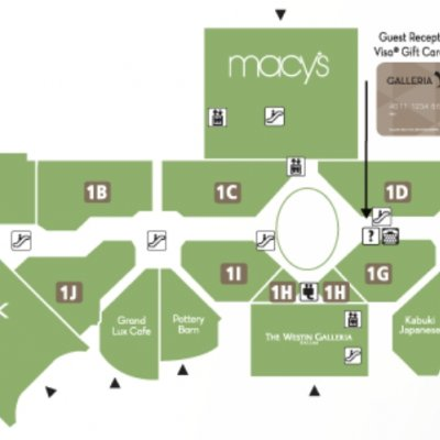 Galleria Dallas plan - map of store locations