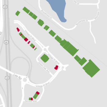 Green Oak Village Place plan - map of store locations