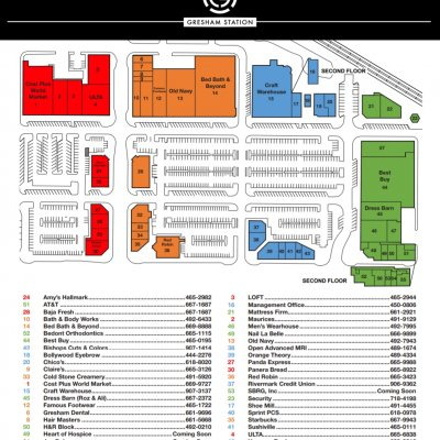 Gresham Station plan - map of store locations