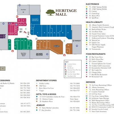 Heritage Mall plan - map of store locations