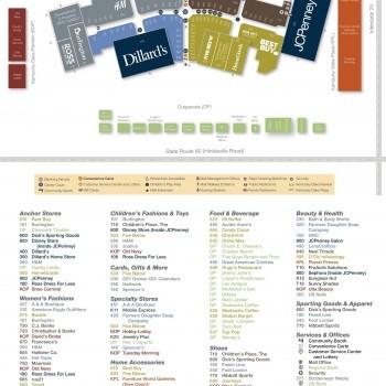 Kentucky Oaks Mall plan - map of store locations