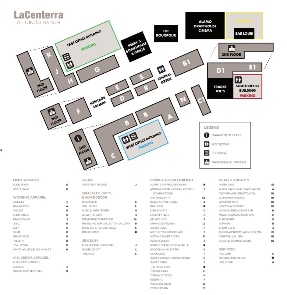 La Centerra Map LaCenterra at Cinco Ranch (90 stores)   shopping in Cinco Ranch
