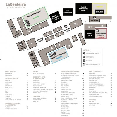 LaCenterra at Cinco Ranch plan - map of store locations