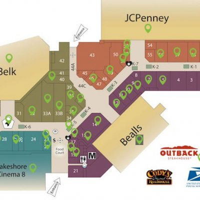 Lakeshore Mall plan - map of store locations