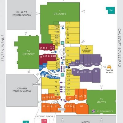 Lakeside Shopping Center plan - map of store locations