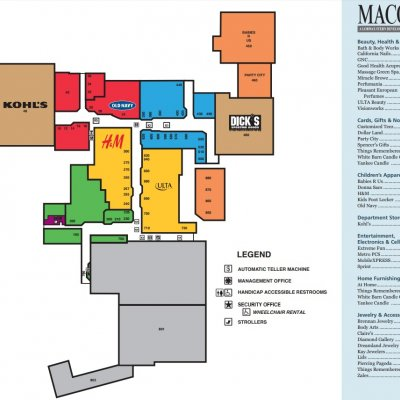 Macomb Mall plan - map of store locations