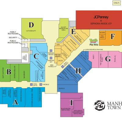 Manhattan Town Center plan - map of store locations