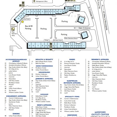 Medford Outlet Center plan - map of store locations
