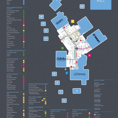 Mesa Mall plan - map of store locations