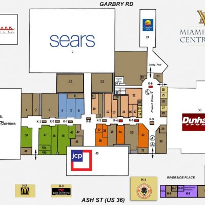 Miami Valley Centre Mall plan - map of store locations