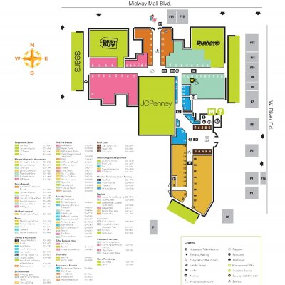 Midway Mall plan - map of store locations