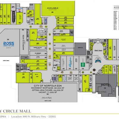 Military Circle Mall plan - map of store locations