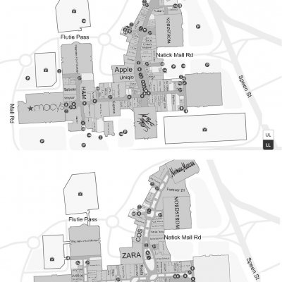 Natick Mall plan - map of store locations