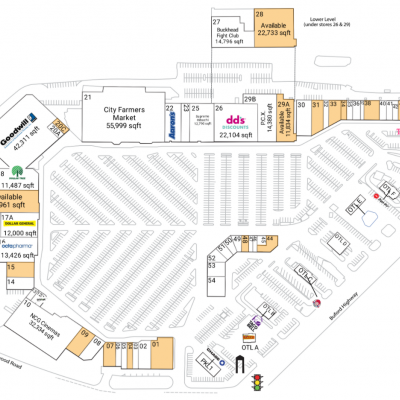 Northeast Plaza plan - map of store locations