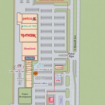 Oak Creek Centre plan - map of store locations