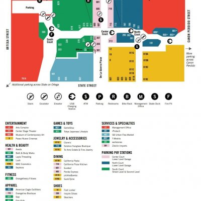 Paseo Nuevo plan - map of store locations