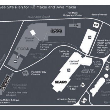 Pearlridge Center plan - map of store locations